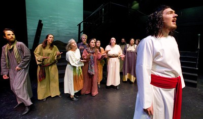 Jesus Christ performed by Braven Warren tries to lead his supporters during the song What's the Buzz in Jesus Christ Superstar which is being presented by Pacheco Theatre at the McManus stage at the Grand Theatre running Oct. 10-19, 2019.  Photograph taken on Tuesday October 8, 2019.  Mike Hensen/The London Free Press/Postmedia Network