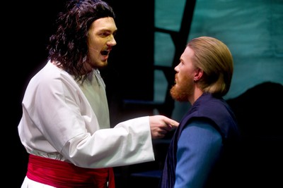 Jesus Christ performed by Braven Warren confronts Judas Iscariot played by Trevor Richie during Jesus Christ Superstar which is being presented by Pacheco Theatre at the McManus stage at the Grand Theatre running Oct. 10-19, 2019.  Photograph taken on Tuesday October 8, 2019.  Mike Hensen/The London Free Press/Postmedia Network