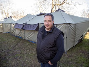 Pastor Dan Morand and his Urban Haven Project have erected two heated tents in the backyard of Beth Emanuel Church where they plan to run a winter shelter for homeless men. (Derek Ruttan/The London Free Press)