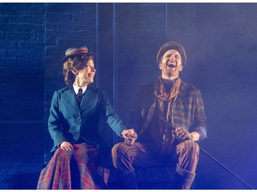 Londoners Deborah Hay, as Marry Poppins, and Mark Uhre as Bert stars in the Grand Theatre's production on until Dec. 29.  (Derek Ruttan/The London Free Press)