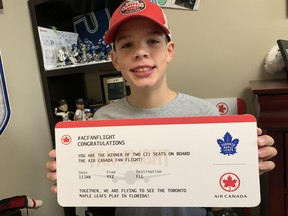 Brock Chessell, a 13-year-old cancer survivor from St. Marys, attended the Oct. 29 Toronto Maple Leafs game against Washington as part of the Air Canada Fan Flight program, which recognizes youth making a mark in their community. In January, Brock and his family will fly to Florida as part of the program to watch the Leafs play the Panthers. (Cory Smith/Postmedia Network)