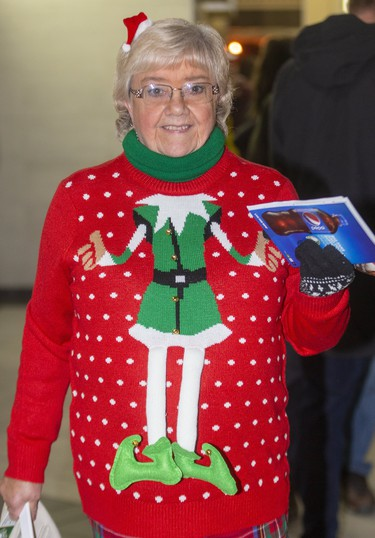 Sharon Baker attends Ugly Sweater Night at the London Knights game against the Sarnia Sting at Budweiser Gardens in London on Friday. (Mike Hensen/The London Free Press)