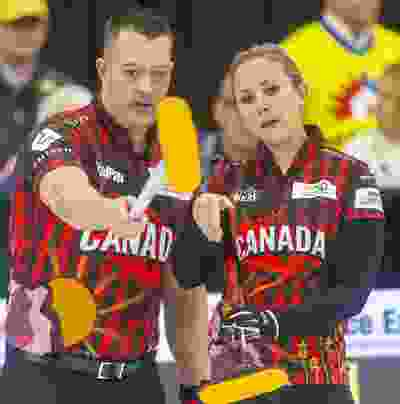 Ben Hebert and Rachel Homan of Team Canada try to figure out what's going wrong after falling behind 7-0 after two ends to Europe's mixed doubles duo of Eve Muirhead and Bobbie Lammie at the Continental Cup curling competition Saturday January 11, 2020 at the Western Fair Sports Centre. The match ended after 7 ends with Europe winning 10-2. Mike Hensen/The London Free Press/Postmedia Network