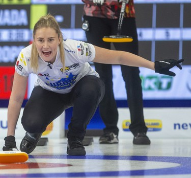 Sweden's Sara McManus yells instructions to sweepers  during their skins match Sunday afternoon against Canada's BJ Neufeld on the final day of the Continental Cup being played Sunday at the Western Fair Sports Centre in London, Ont.  Photograph taken on Sunday January 12, 2020.  Mike Hensen/The London Free Press/Postmedia Network