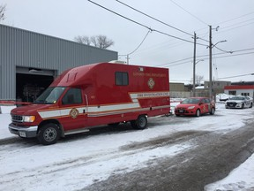 Firefighters responded to reports of a fire at a Brydges Street business early Thursday. (MIKE HENSEN, The London Free Press)