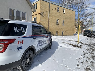 London police are at a low-rise apartment complex on Wellington Road near Grand Avenue, south of downtown London. Photo taken on Friday Feb. 14, 2020. (Dale Carruthers/The London Free Press)