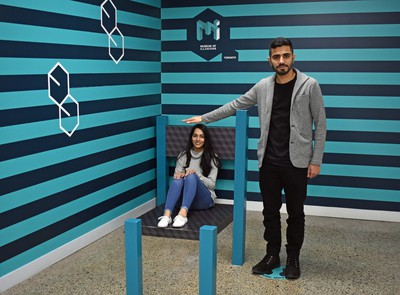 The Museum of Illusions presents dozens of eye-boggling interactive scenarios including this one in which the seated Jasneet