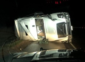Chatham-Kent OPP provided a photo of a tractor trailer that crashed on Highway 401 in Chatham-Kent early Tuesday morning.