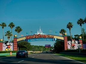 In this file photo taken on June 15, 2016 the entrance to the Walt Disney World theme park is seen in Orlando, Fla.