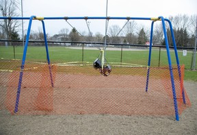 Authorities have taken serious measures to ensure that no one uses the playground equipment at Shelbourne Park in Port Stanley. Photo shot on Tuesday April 7, 2020. Derek Ruttan/The London Free Press/Postmedia Network