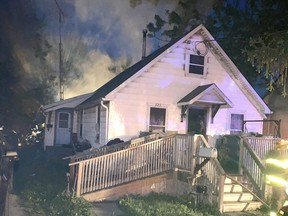 One person was taken to hospital with non-threatening injuries early Tuesday morning as fire caused roughly $100,000 damage to a house at 525 Creek Rd. in Wallaceburg.  (Handout)