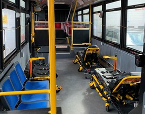 The Toronto Paramedic Services retrofitted five decommissioned Toronto Transit buses and turned into multi-patients units. It's an idea the London-area paramedic service is now looking to implement in the region. (City of Toronto handout).