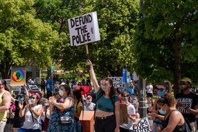 Protesters rallied outside city hall for London's second Black Lives Matter rally. Photo taken on Saturday June 20, 2020. (Max Martin/The London Free Press)