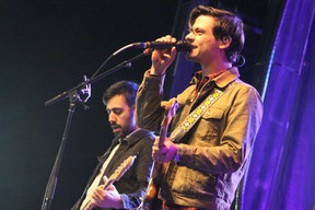 Bassist Nick Dika and guitarist Mike DeAngelis of Arkells perform at the East Coast Garden Party at Snye Point Park in Fort McMurray, Alta. on Saturday, August 26, 2017. (Vincent McDermott/Postmedia Network)