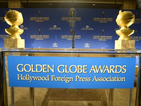 This December 11, 2014 file photo shows the stage prior to the start of the 2015 Golden Globe Awards nominations announcements in Beverly Hills.