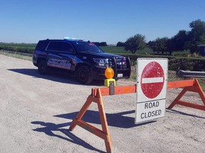 Chatham-Kent police are investigating a single-vehicle crash in which one girl died and two others were injured on Jacob Road near Given Line west of Chatham on Monday, July 27, 2020. (Trevor Terfloth/Postmedia Network)