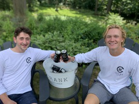 Class of 2020 Ivey School of Business graduates Michael Woolfson, left, and Jack Jelinek have targeted beer drinkers on a budget who still want to craft beer with the launch of Crank Lite, but their March launch was tripped up by the pandemic.