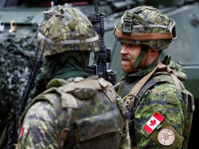 Canadian troops of NATO enhanced Forward Presence battle group attend a military drill during the COVID-19 outbreak near Daugavpils, Latvia, April 15, 2020.