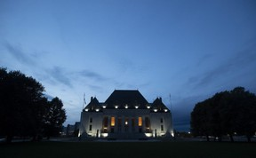The Supreme Court of Canada is seen at sunset in Ottawa, Tuesday Sept. 1, 2020. The Supreme Court of Canada has affirmed that Ontario's sex-offender registry regime violates the constitutional rights of people found not criminally responsible by reason of mental disorder. (THE CANADIAN PRESS/Adrian Wyld)