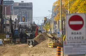 Massive construction involving watermains and sewers kept Dundas Street east of Adelaide Street closed in October 2020. (Mike Hensen/The London Free Press)