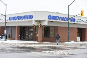 The Greyhound bus station in London, Ont. on Tuesday January 26, 2021. (Derek Ruttan/The London Free Press)