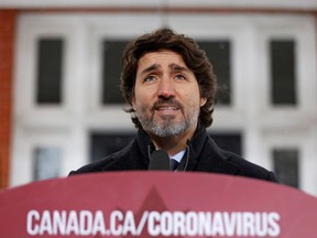 Canada's Prime Minister Justin Trudeau speaks during a news conference at Rideau Cottage, as efforts continue to help slow the spread of the coronavirus disease (COVID-19), in Ottawa, Ontario, Canada January 5, 2021.