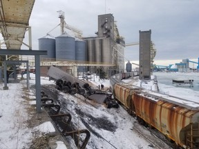 Vehicles and buildings were damaged when a train derailed Monday afternoon near the grain elevator in Goderich, West Region OPP says. No one was injured.