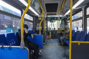 LTC ridership has slipped back to about 30 per cent of normal during the most recent lockdown, after it rebounded slightly to about 40 per cent of normal last summer and fall. (Mike Hensen/The London Free Press)