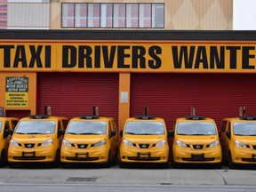 New York taxi cabs are seen parked on April 10, 2020 in New York City.