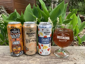 Hazed and Confused IPA, Muskoka Mimosa and Chance of Flowers are three warm-weather outdoor brunch companions from cottage country's Muskoka Brewery. (BARBARA TAYLOR/The London Free Press)