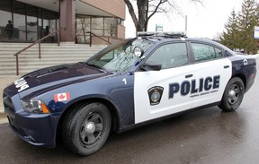A Sarnia police cruisier is shown parked at the police station in this file photo.