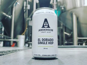 El Dorado IPA is available throughout May. It's part of a series of single-hop beers brewed by Anderson Craft Ales. Also currently available is Sabro. Coming later this year are two more new beers using the same malt but featuring Southern Passion and Medusa hops. (Anderson Craft Ales photo)
