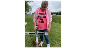 Jean Pigeau, whose son James died at London's Elgin-Middlesex Detention Centre, says she'll back a legal fight to protect a makeshift memorial for her son and 17 other dead inmates. It's located near the Exeter Road jail and guards want it removed. Pigeau and other family members gathered at the memorial on Saturday June 26, 2021. (Randy Richmond/The London Free Press)