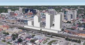 A development concept drawing illustrates possibilities for 301 York St., a downtown parcel on the market for $40 million. (Contributed/George Georgopoulos)