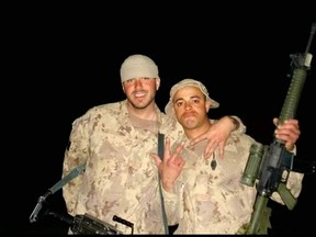 Dan Campbell, right, and Benjamin Van Eck are shown in this photo from May 2007 in Afghanistan. Van Eck was released from the military in 2015 for medical reasons and struggled with homelessness and addiction, a family member said. Van Eck's body was found June 10 near Nelson and Colborne streets in London's SoHo neighbourhood. London police are investigating his death. (Photo courtesy of Dan Cambell)