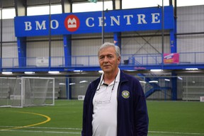 Tom Partalas, who runs the BMO Centre in London, is gearing up to reopen the huge indoor soccer complex closed since February as Ontario moves to the third stage of the reopening of its economy Friday following a COVID-19 spring shutdown and stay-at-home order.  (CALVI LEON/The London Free Press)