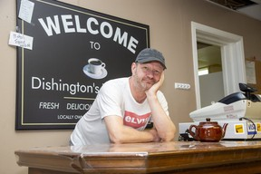 Richard DeJonge has been shedding a lot of tears with customers as he prepares to close his business, Dishington's Tea Room in Lambeth. DeJonge and his wife Tami are selling teapots and cups until Sunday. (Derek Ruttan/The London Free Press)