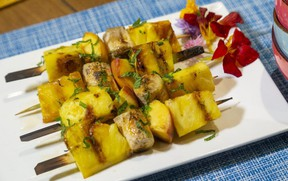 Give fresh pineapple, peach and banana its just desserts with a hint of rum, vanilla and brown sugar and a few minutes on the barbecue. Jill Wilcox says. (Mike Hensen/The London Free Press)