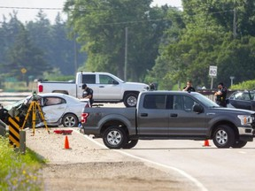 A two-car collision on Col. Talbot Road near Hwy. 401 in London. Photo taken Thursday July 15, 2021. (Mike Hensen/The London Free Press)