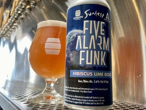 Five Alarm Funk Hibiscus Lime Gose, with its melting ice cream cone label, is back for July at London Brewing in support of TD Sunfest. (London Brewing photo)
