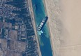 The container ship Ever Given, stuck in the Suez Canal in Egypt, is seen from the International Space Station. (NASA JSC ISS)