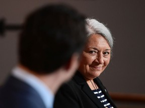 Mary Simon smiles at Prime Minister Justin Trudeau during an announcement of her appointment at the Canadian Museum of History in Gatineau on Tuesday, July 6. Simon, an Inuk leader and former Canadian diplomat, has been named as Canada's next governor general -- the first Indigenous person to serve in the role.