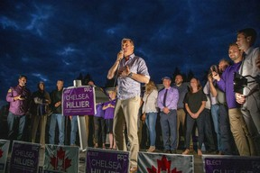 People's Party of Canada Leader Maxime Bernier speaks to thousands of supporters during a campaign rally at Steen Park in Aylmer, a hotbed of opposition to COVID-19 safety restrictions, on Wednesday September 15, 2021.  (Derek Ruttan/The London Free Press)