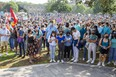 Thousands of people attend a rally against sexual violence on campus at Western University for  in London, Ont. on Friday. (Derek Ruttan/The London Free Press)