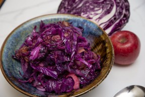 Bacon, caraway seed, brown sugar and cider vinegar make braised red cabbage and apples a tasty, colourful fall side dish, Jill Wilcox says. (Derek Ruttan/The London Free Press)