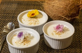 Coconut milk, cream, vanilla and rum fuel the flavour in this easy-to-make Coconut Panna Cotta dessert, Jill Wilcox says. (Mike Hensen/The London Free Press)