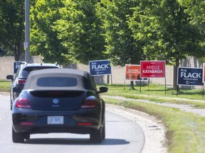 There's virtually no part of London West that isn't covered with signs from the candidates in Canada's Sept. 20 federal election. It's the lone seat in the 10-riding London region where no incumbent is seeking reelection, guaranteeing a new MP. (Mike Hensen/The London Free Press)