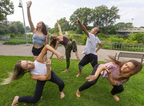 The London Dance Festival returns this weekend with performances and workshops on Dundas Place and Ivey Park. Getting ready for the fun are, clockwise from lower left, Cynthia Nakeyar, Justine Strokan, Kaitlin Torrance, Yuan Sui and Clara Gharibo. (Mike Hensen/The London Free Press)