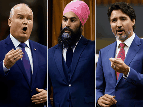 Conservative leader Erin O'Toole, NDP leader Jagmeet Singh and Prime Minister Justin Trudeau (Photos by BLAIR GABLE/REUTERS; SEAN KILPATRICK/THE CANADIAN PRESS)