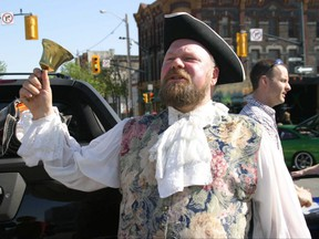 Bill Paul, London's self-appointed town crier, in full regalia and mid-proclamation downtown in 2005. (Ken Wightman/The London Free Press)
